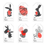 Easter tags. Hand-drawn  festive set. Happy Easter! Set of  tags with cute Easter bunny, eggs and a sprig of willow Royalty Free Stock Image