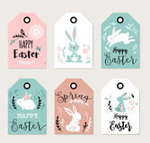Easter tags, labels with cute banny Royalty Free Stock Photography