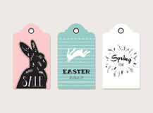 Easter tags, labels with cute bunny and flowers Royalty Free Stock Photos