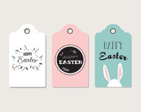 Easter tags, labels with cute bunny and flowers Stock Images