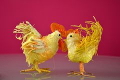 Easter tap and hen on red background. Easter Holidays and Traditions. Easter tap and hen on red background royalty free stock photos