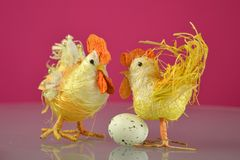 Easter tap and hen on red background. Easter Holidays and Traditions. Easter tap and hen on red background royalty free stock images