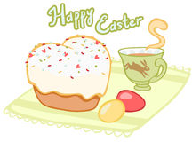 Easter tea with cupcake and eggs Royalty Free Stock Image