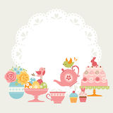 Easter tea party. Cute Easter tea party invitation with place for your text royalty free illustration