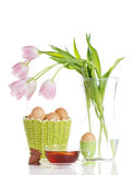 Easter Tea With Tulips Royalty Free Stock Photography