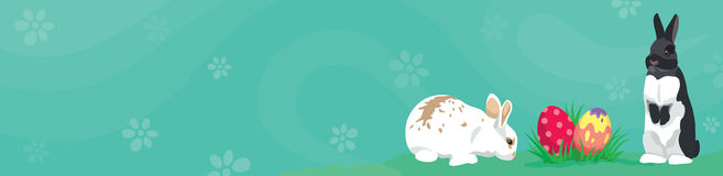 Easter template Web banner Header  Easter rabbits and eggs. Easter template Web banner Header template with Easter rabbits, colorful Easter eggs and blank space Stock Photography