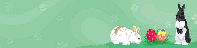 Easter template Web banner Header rabbits, eggs and blank copy space for text. Easter template Web banner Header template with rabbits, colorful Easter eggs and Stock Image