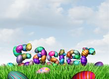 Easter Holiday Greeting. Easter text on grass as a spring celebration happy greeting with decorated eggs as a 3D illustration Royalty Free Stock Photography