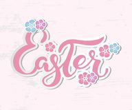 Easter text isolated on textured background with flowers. Hand drawn lettering as Easter logo, badge, icon. Template for Happy Easter Day, party invitation Royalty Free Stock Images