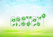 Easter text message with green leaves and daisy blossoms on green landscape Stock Images