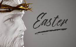 Easter Text Porcelain Jesus Christ Statue with Gold Crown of Tho. Rns 3D Rendering Side Angle Digital Art Royalty Free Stock Image