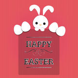 Easter text with rabbit and eggs. White rabbit and eggs with text  happy easter on red line background Royalty Free Stock Image