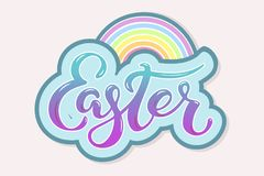 Easter text with rainbow isolated on background. Hand drawn lettering Easter as logo, badge, icon, patch. Template for Happy Easter greeting card, party Stock Image