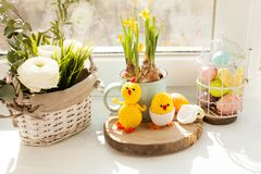 Easter textile basket. Easter decorations - crochet chicks from the egg shell Stock Image