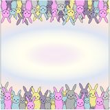 Colored illustration of a frame with a easter rabbit. Easter theme border with bunny rabbit. Space for text vector illustration