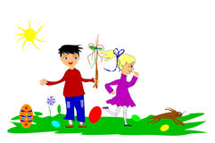 Easter theme with children Royalty Free Stock Image