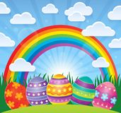Easter theme with eggs and rainbow. Eps10 vector illustration Royalty Free Stock Photo