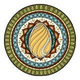 Easter theme mandala with doodle egg. Ethnic floral pattern. Henna paisley mehndi tribal background. Hand drawn art mandala. Stock Image