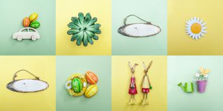 Easter theme, a set of items on the theme of spring. And Easter, a collage. Decorated Easter eggs, funny bunnies, flowers. Minimalism, View from above, flat lay stock image