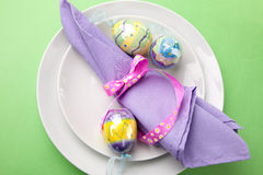 Easter theme table setting Royalty Free Stock Image