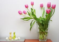 Easter theme with tulips Royalty Free Stock Photos