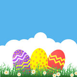 Easter themed banner with decorated eggs and grass Stock Photos