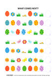 Easter themed educational logic game - sequential pattern recognition. Easter themed educational logic game training sequential pattern recognition skills: What Royalty Free Stock Photo