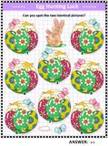 Easter themed find the two identical images visual puzzle Royalty Free Stock Photography