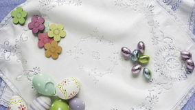 Easter. Themed objects appearing on table stock video footage
