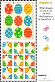 Easter themed picture riddle with painted eggs pattern - what does not belong?. Easter holiday themed visual logic puzzle with painted eggs pattern: What of the Royalty Free Stock Image