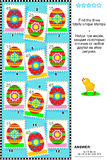 Easter themed visual logic puzzle with stamps. Visual logic puzzle (suitable both for kids and adults): Find the three totally unique postage stamps with Royalty Free Stock Image