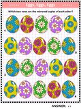 Easter themed visual puzzle with rows of painted eggs