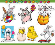 Easter themes set cartoon illustration Royalty Free Stock Photos
