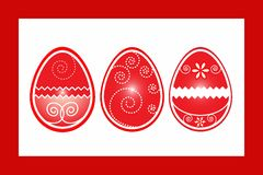 Easter three eggs in frame vector illustartion Royalty Free Stock Images