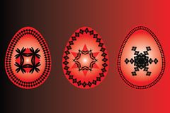 Easter three eggs red black  illustartion Stock Images