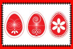 Easter three eggs in red frame  illustartion Royalty Free Stock Photography