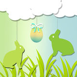 Easter. Tichet happy easte with rabbit and egg Stock Photo