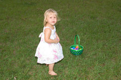 Easter Time. Little Girl with Easter Basket Stock Images