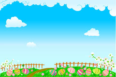 Easter time. Vector illustration of cute Easter background, Spring time Stock Photo