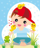Easter time. Illustration of little boy with chickens