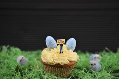 Cupcake topped with a miniature person figurine holding a sign indicating i love Easter with some chicks eggs decorations royalty free stock photos
