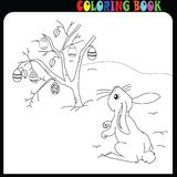 Easter time. Drawing worksheet. Child, bunny. Easter Bunny with egg. Black and white vector illustration for coloring book page stock illustration