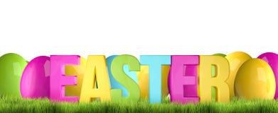 Easter time easter eggs 3D render. Illustration Stock Photo