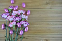 Easter time fresh flowers with chocolate eggs on wood background. Pink and purple fresh spring time carnation flowers on a natural rustic wood background with Royalty Free Stock Photos