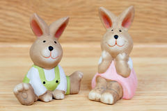 Easter time. Funny ceramic rabbits Stock Image