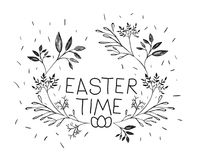 Easter time poster with branches decoration in monochrome silhouette. Vector illustration Royalty Free Stock Photography
