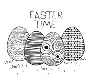 Easter time poster with decorative easter eggs in monochrome silhouette. Vector illustration Stock Image