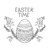 Easter time poster with easter egg with decorative branches around in monochrome silhouette. Vector illustration Royalty Free Stock Images