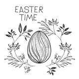 Easter time poster with easter egg with spiral decoration and branches around in monochrome silhouette. Vector illustration Stock Image