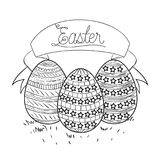 Easter time poster with easter ribbon text and eggs in monochrome silhouette. Vector illustration Royalty Free Stock Image